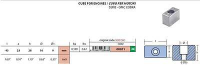 OMC Cobra Outboard Engine Anode Zinc Cube Design *NEW* Original Code 395780
