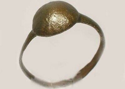 AD300 Ancient Roman Provincial Pannonia (Hungary) Faux Gemstone Bronze Ring Sz6 3