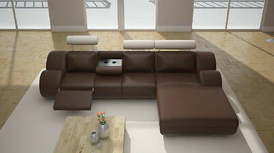 Ecksofa Sofa Couch Polster Wohnlandschaft Leder Eck Sofas Garnitur L