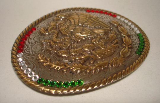 Mexico Coat of Arms Flag Western Rodeo Cowboy Mexican Vintage style belt buckle 7