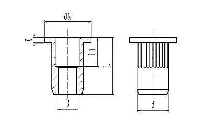 Qty 10 M6 Large Flange Nutserts 304 A2 Stainless Steel Rivet Nut Rivnut Nutsert