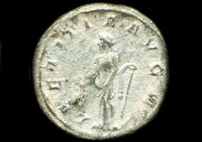 AD243 Silver Roman Denarius Teen Emperor Gordian + Joy Gladness Goddess Laetitia 4