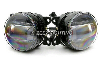 LED Projector Fog Driving Lamp w/ DRL Daytime Running Light For Cars Trucks SUVs 2