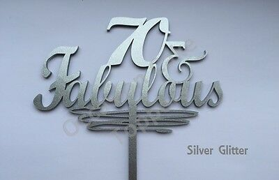 40, 50, 60 & Fabulous Cake Topper - Birthday Decoration - acrylic glitter mirror 7