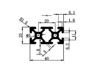 1PCS 20x40 250mm European Standard Linear Rail Aluminum Profile Extrusion 5