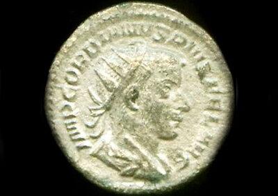 AD243 Silver Roman Denarius Teen Emperor Gordian + Joy Gladness Goddess Laetitia 5