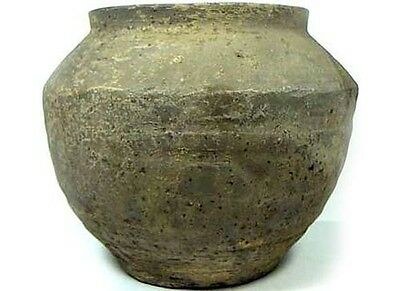 Superb Ancient China Han Dynasty Wheel Turned Large Earthenware Clay Jar 200BC 4