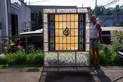 Huge Leaded Stained Glass Window-Antique-C 1910-Leaded Stained Glass Window 3