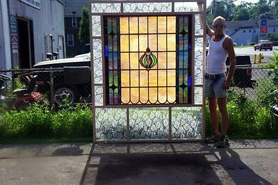 Huge Leaded Stained Glass Window-Antique-C 1910-Leaded Stained Glass Window 5