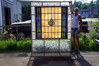 Huge Leaded Stained Glass Window-Antique-C 1910-Leaded Stained Glass Window 4