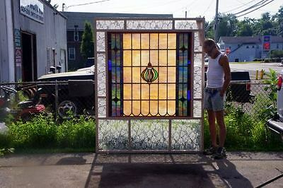 Huge Leaded Stained Glass Window-Antique-C 1910-Leaded Stained Glass Window 2
