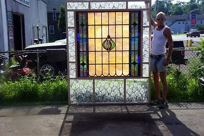 Huge Leaded Stained Glass Window-Antique-C 1910-Leaded Stained Glass Window 6