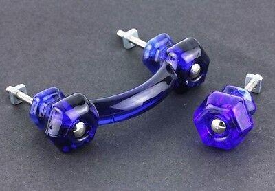 Cobalt Blue Glass Hexagonal Bridge Drawer Pull - K-55G 2