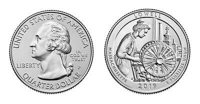 2019 P&D  ATB Lowell National Historical Park Mass MA Mint Quarter Coins Money 3