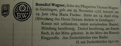 Rare alte Zinnkanne Geislingen Steige um 1820 Bäcker