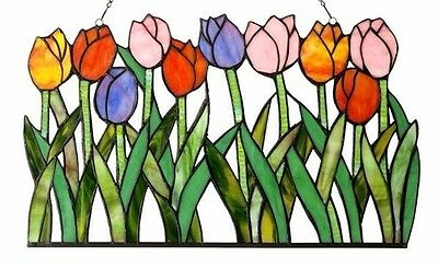 Tulip Floral Design Tiffany Style Stained Glass Window Panel LAST ONE THIS PRICE 2