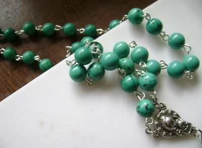 Turquoise BEADS & Turquoise CROSS Crucifix 5 DECADE ROSARY Catholic NECKLACE 4