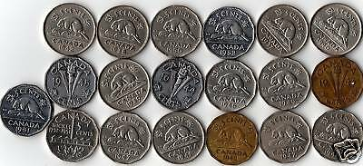 Complete Year Set Of 19 King George VI Era 5 Cent Coins. 2