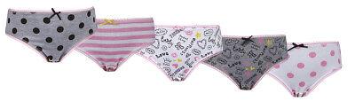 Girls 5 Pack Pairs Briefs Set Knickers Kids Multipack 100% Cotton Underwear Size 2