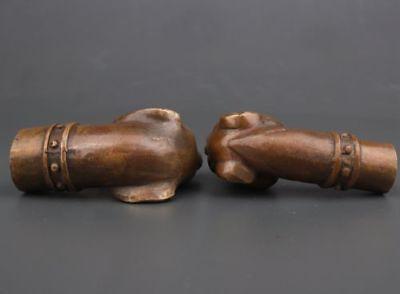 2 Bronze Dog Head Handle Crutch Dog Head Preying Statue Walking Stick Cane Head 6