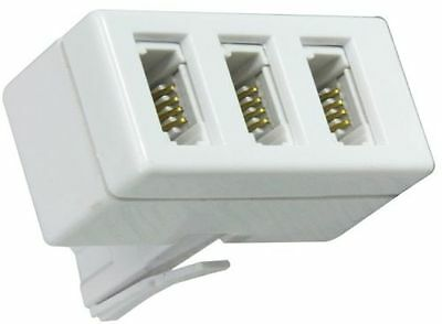 BT Telephone Socket Triple Phone Adapter 3 Way UK Land Line Converter Splitter 2