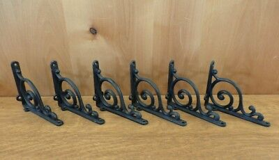 "SET 6 BROWN ANTIQUE-STYLE 9.5/"" SHELF BRACKETS CAST IRON rustic garden LEAF SWIRL"