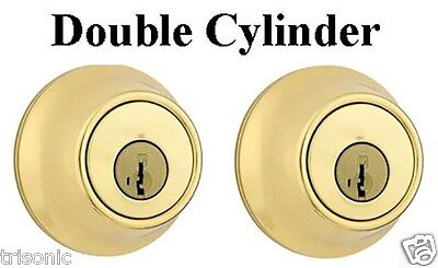 Double Cylinder Deadbolt Door Lock Handle Set, Polished Brass With 3 Keys ANSI