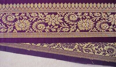 "2.25 /"" Wide Amethyst Purple  3 Yards Silk Metallic Jacquard Trim Brocade"