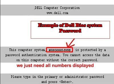 DELL Bios Unlock / Removal Type  D35B / 1D3B / 1F66 /6FF1 4