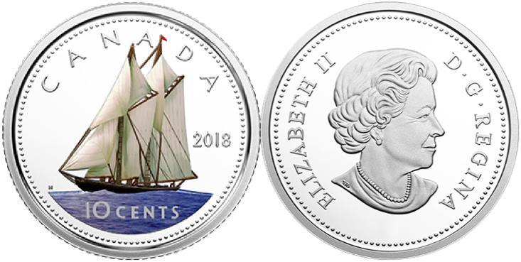 Rare! Canada 10 Cent Dime Collection 2017 Classic Bluenose Design