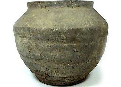 Superb Ancient China Han Dynasty Wheel Turned Large Earthenware Clay Jar 200BC 2