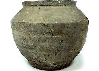 Superb Ancient China Han Dynasty Wheel Turned Large Earthenware Clay Jar 200BC 2 • CAD $377.99