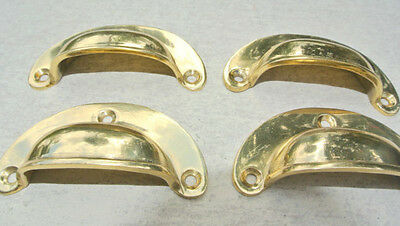 4 small shell shape pulls handles solid brass vintage POLISHED drawer 6.6 mm 3