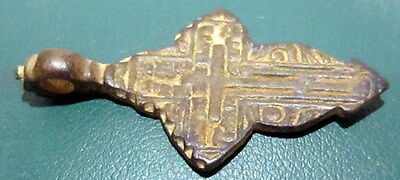 ATTRACTIVE ANTIQUE 1600-1800s. RUSSIAN ORTHODOX BRONZE CROSS  # 677 7