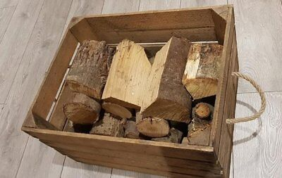 LOG BASKET / FIRE WOOD STORAGE  / FIREPLACE KINDLING BOX  Old Wooden Apple Crate 3