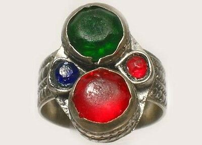18thC Southern Russia Silver Ruby Red Sapphire Blue Emerald Green Glass Gems Sz8 2