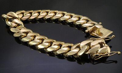461fb42cebbad 14K GOLD MENS Cuban Link Bracelet High Quality Stainless Steel
