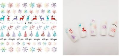3D Nail Art Stickers Water Decals Cartoon Christmas Set 11