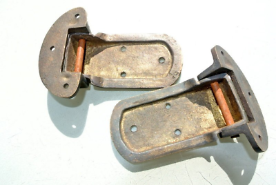 """2 rare ICE BOX CATCH 2 HINGES aged style solid Brass heavy offset 4 """" aged B 3"""