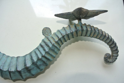 Large brass 35 cm SEAHORSE solid hollow heavy antique oxidised sea side B 6