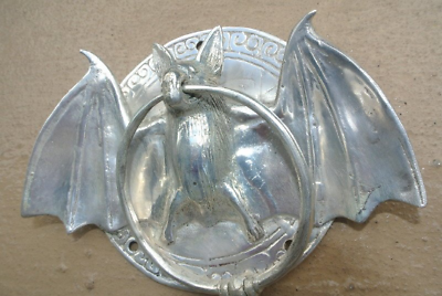"silver plate Door Knocker BAT ring old heavy front SOLID BRASS vintage 7 "" pullB 5"