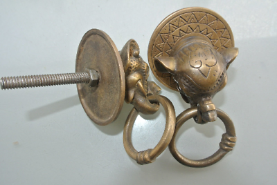 "2 ELEPHANT handle KNOB aged old  Brass PULL ring  knob kitchen 2 1/4"" heavy B 3"