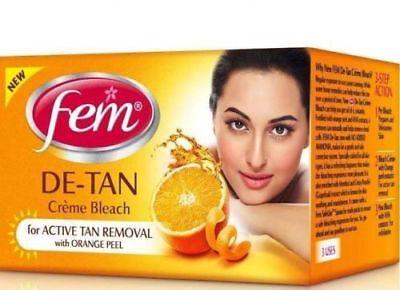 Fem De-Tan Creme Bleach No Ammonia Active Tan Removal w/ Orange Peel-10gm / 30gm