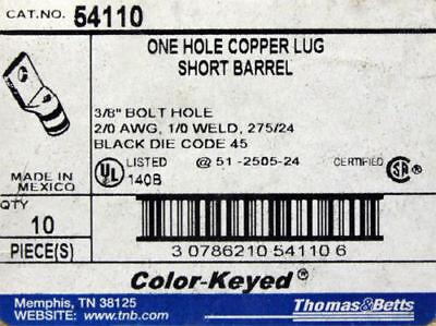 Long Barrel Thomas /& Betts 54866BESP  54866BE Box of 10 Two Hole Copper Lug