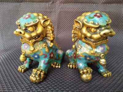 A Pair Chinese Cloisonne Copper Statue - Lion Foo Dog 6