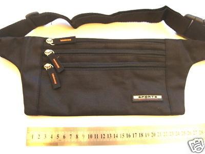 Travel Money Belt Passport Waist Porch Sport Bum Bag - compact Black New