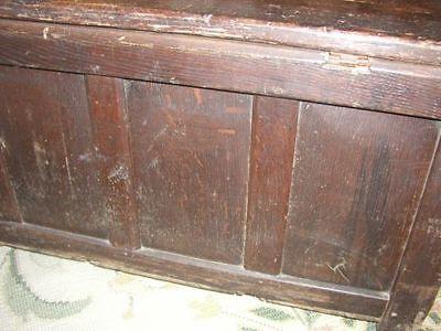 Early 18th century Carved Georgian Oak Pine Mule Chest Coffer Blanket Box