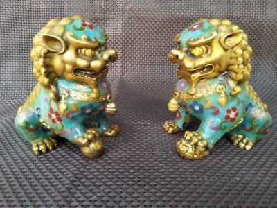 A Pair Chinese Cloisonne Copper Statue - Lion Foo Dog 4