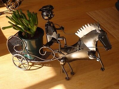 table centre piece horse and carriage plant holder ledge bottle holder wine rack