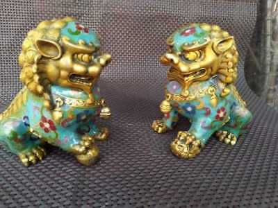 A Pair Chinese Cloisonne Copper Statue - Lion Foo Dog 3